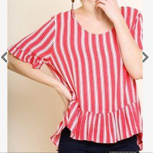 Umgee Striped Short Sleeve Top with Ruffled Hem